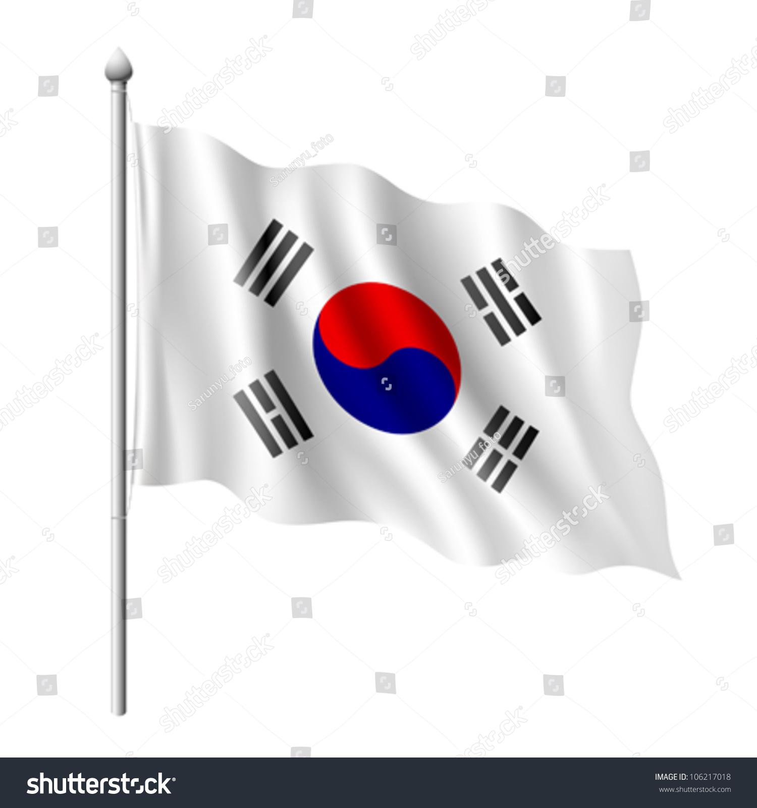 韩国国旗,矢量插图图片