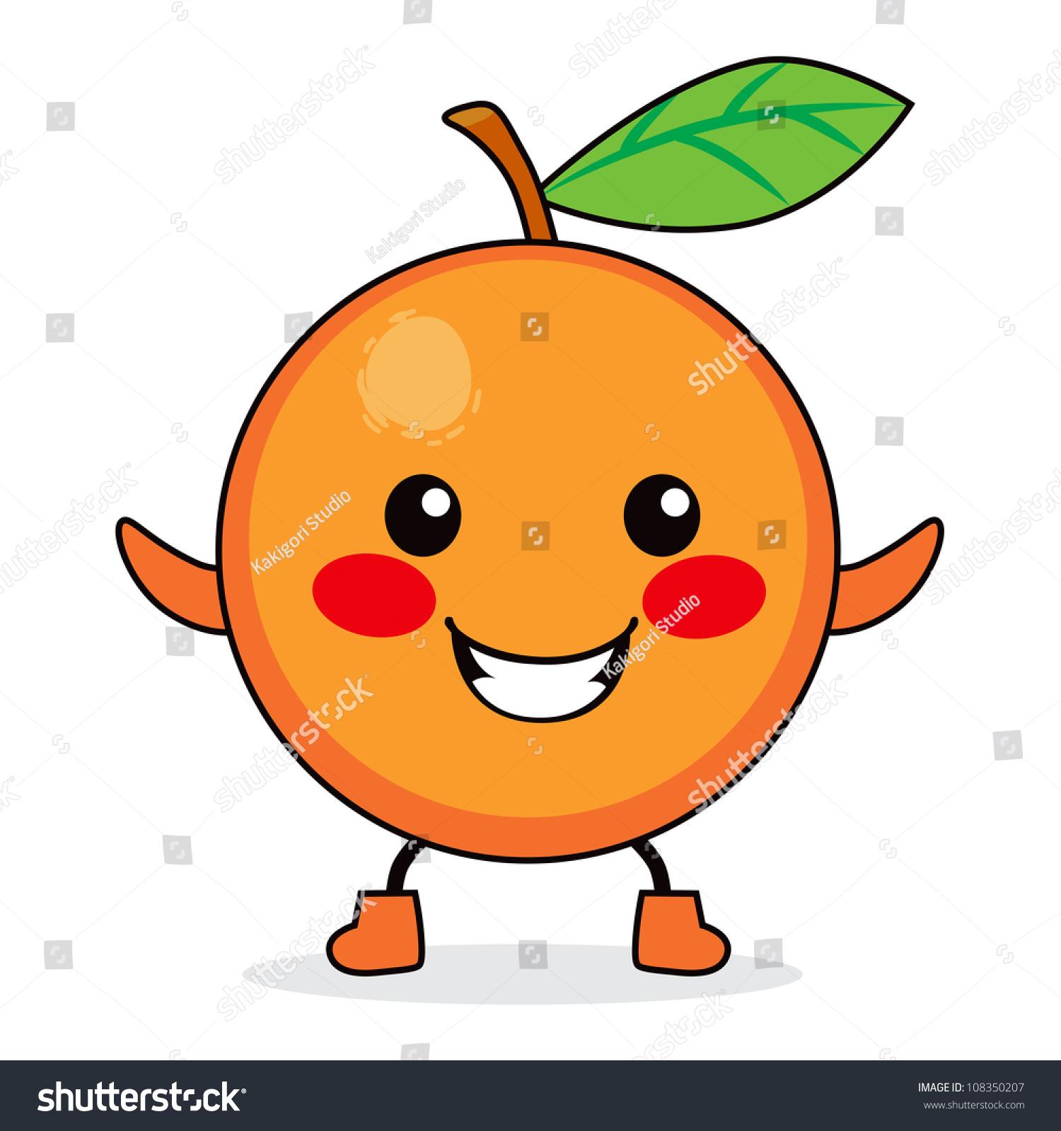 可爱的橙色水果卡通人物微笑的快乐-食品及饮料