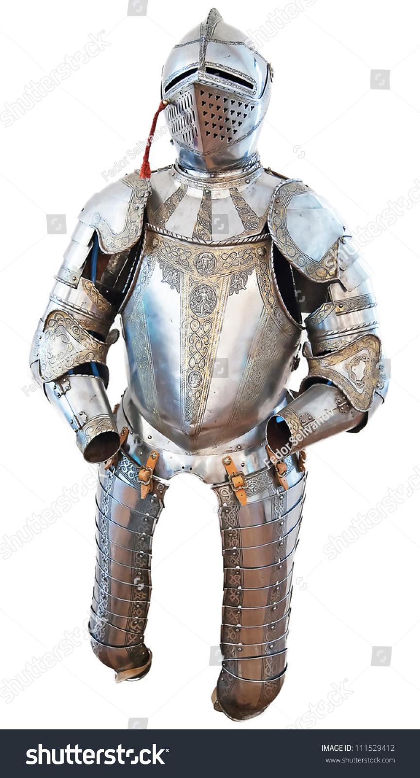 中世纪城堡中的骑士盔甲,白色的-艺术,复古风格-海洛图片