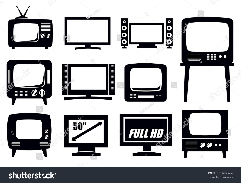矢量黑白复古与现代电视图标集-科技-海洛创意()