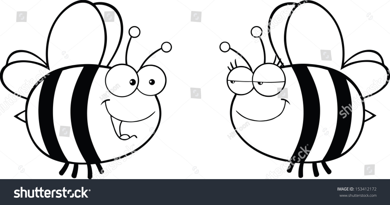 黑色和白色可爱的蜜蜂寻找雌性蜜蜂