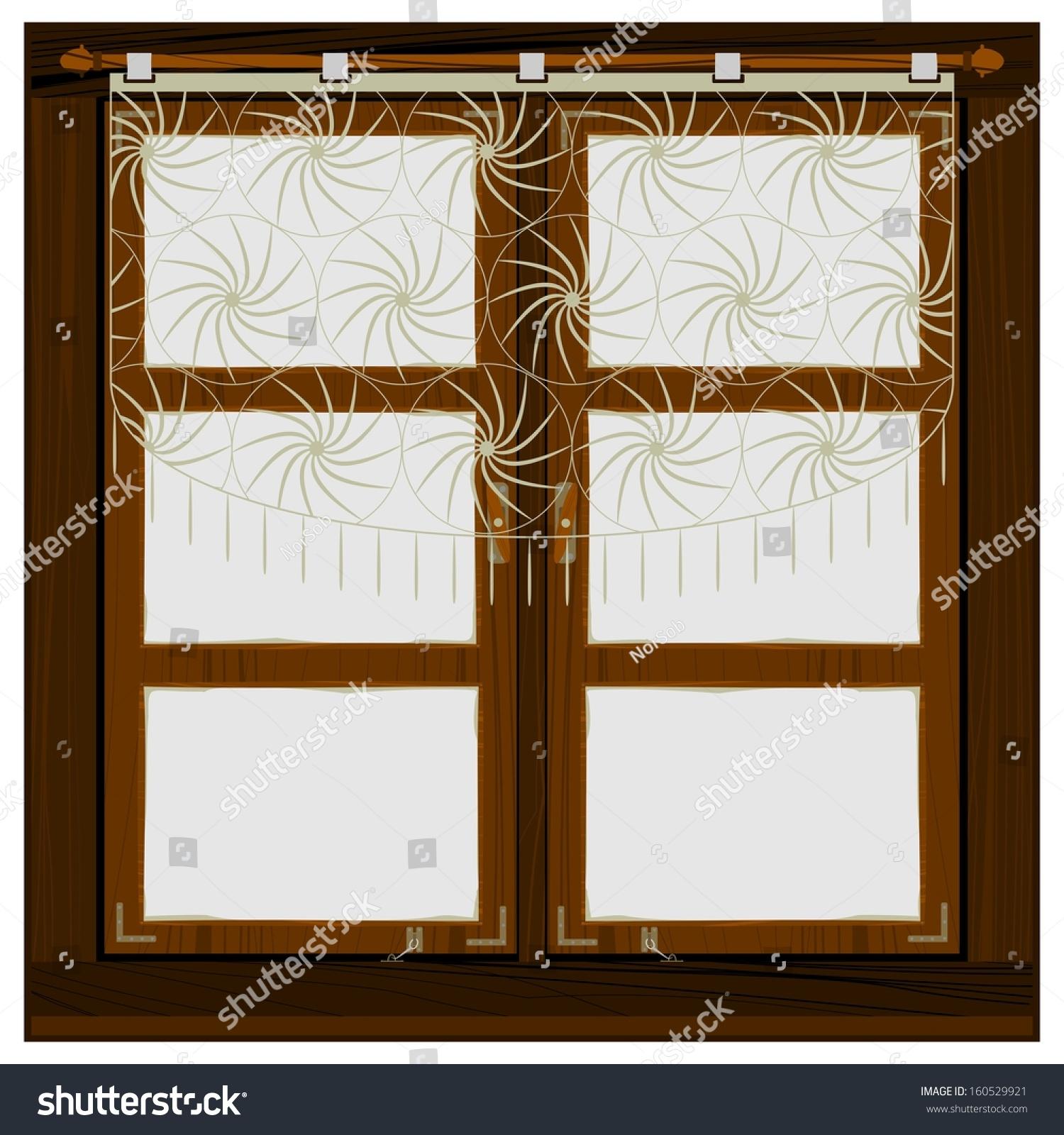 老木窗户窗帘在白色的背景.容易把任何墙在你的设计
