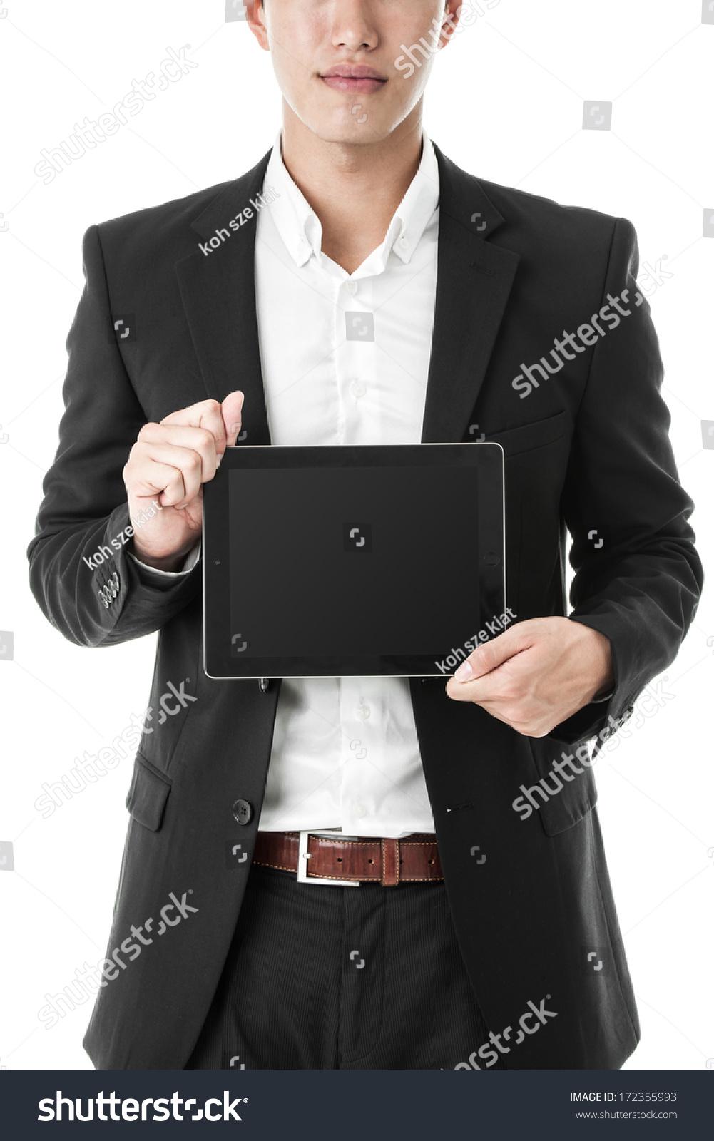商人拿着平板电脑-商业/金融