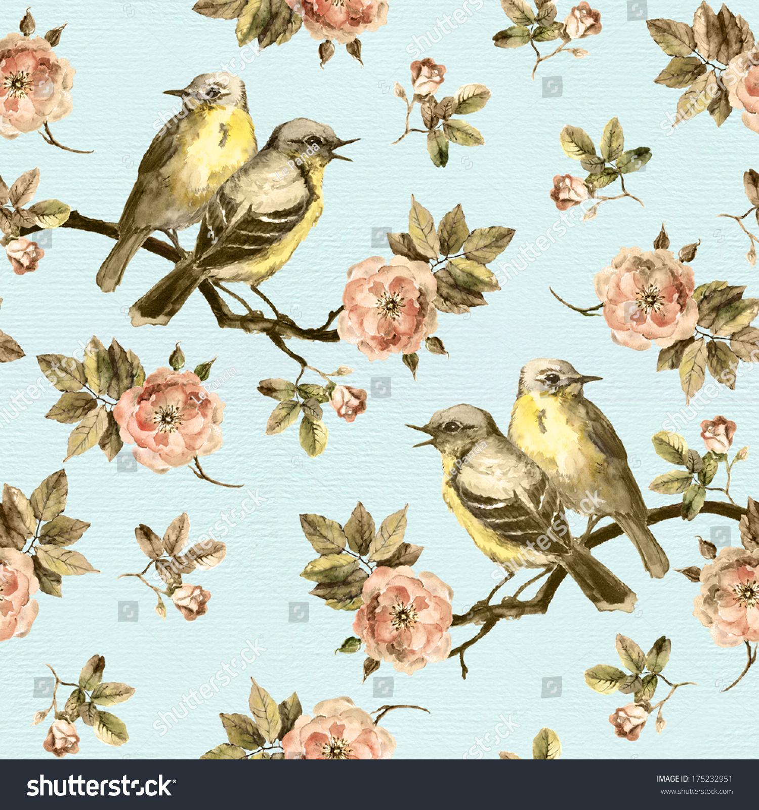 无缝的背景与复古的鸟与玫瑰花花的背景-动物/野生