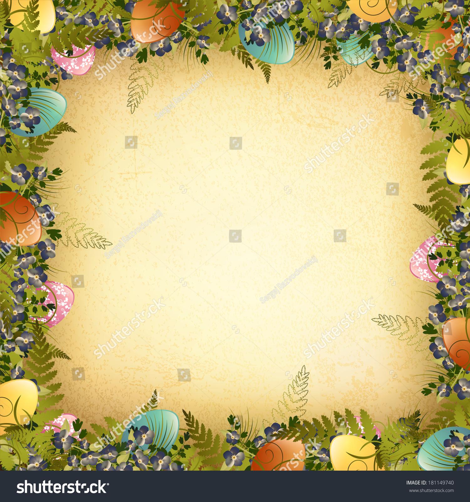 的复活节彩蛋装饰架,花和草-背景/素材