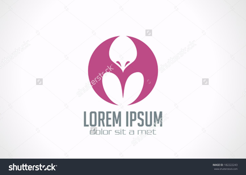 龙鸟抽象矢量标志设计模板.圆象征符号.创意飞图标