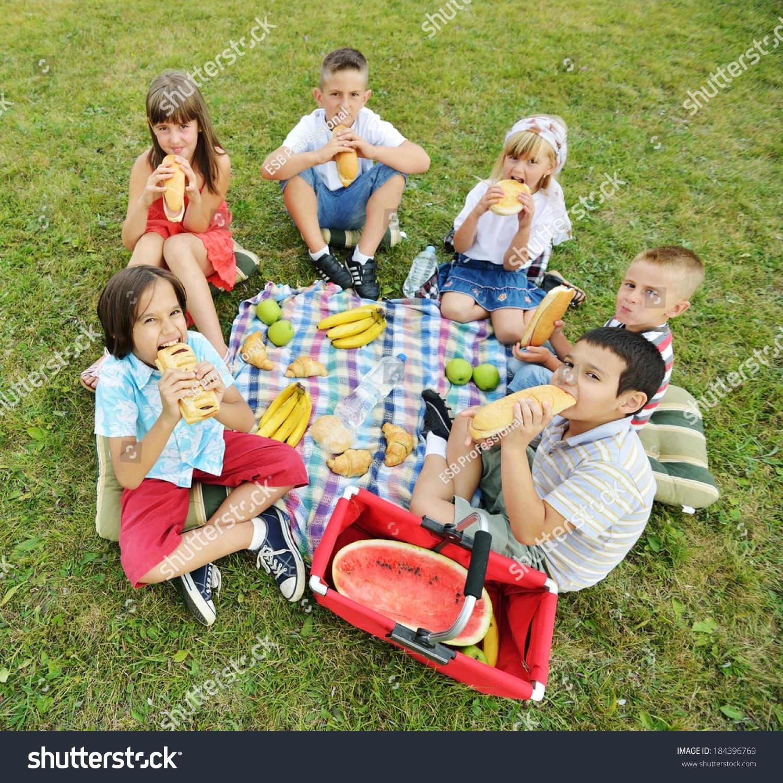 孩子们在圆在草地上野餐