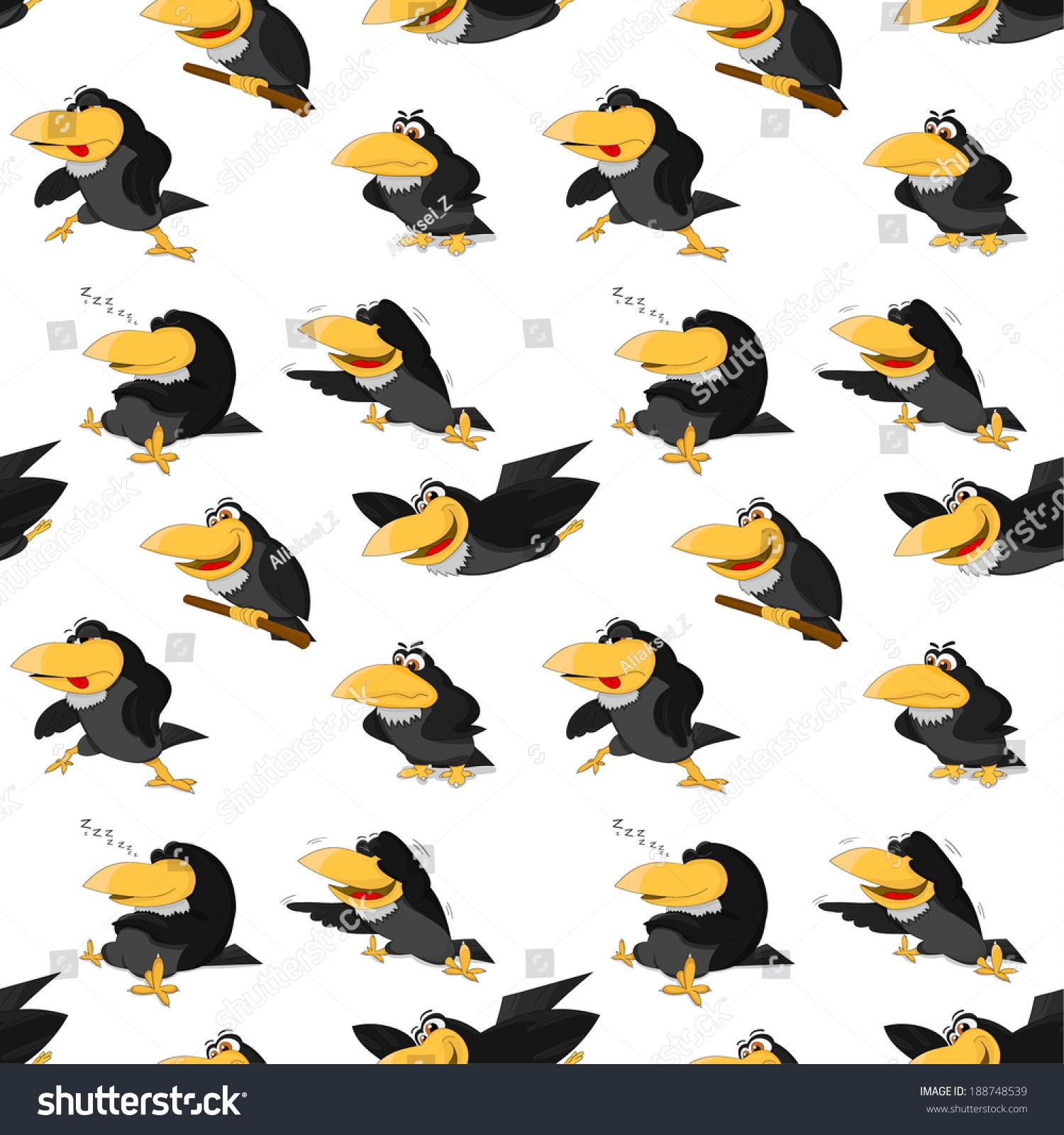 可爱的卡通乌鸦纹理-动物/野生生物
