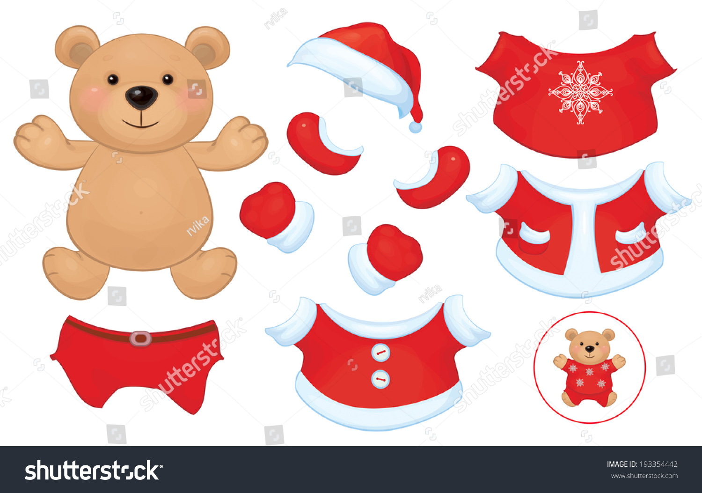 向量可爱的小熊玩具和圣诞老人服装的衣服.-背景/素材