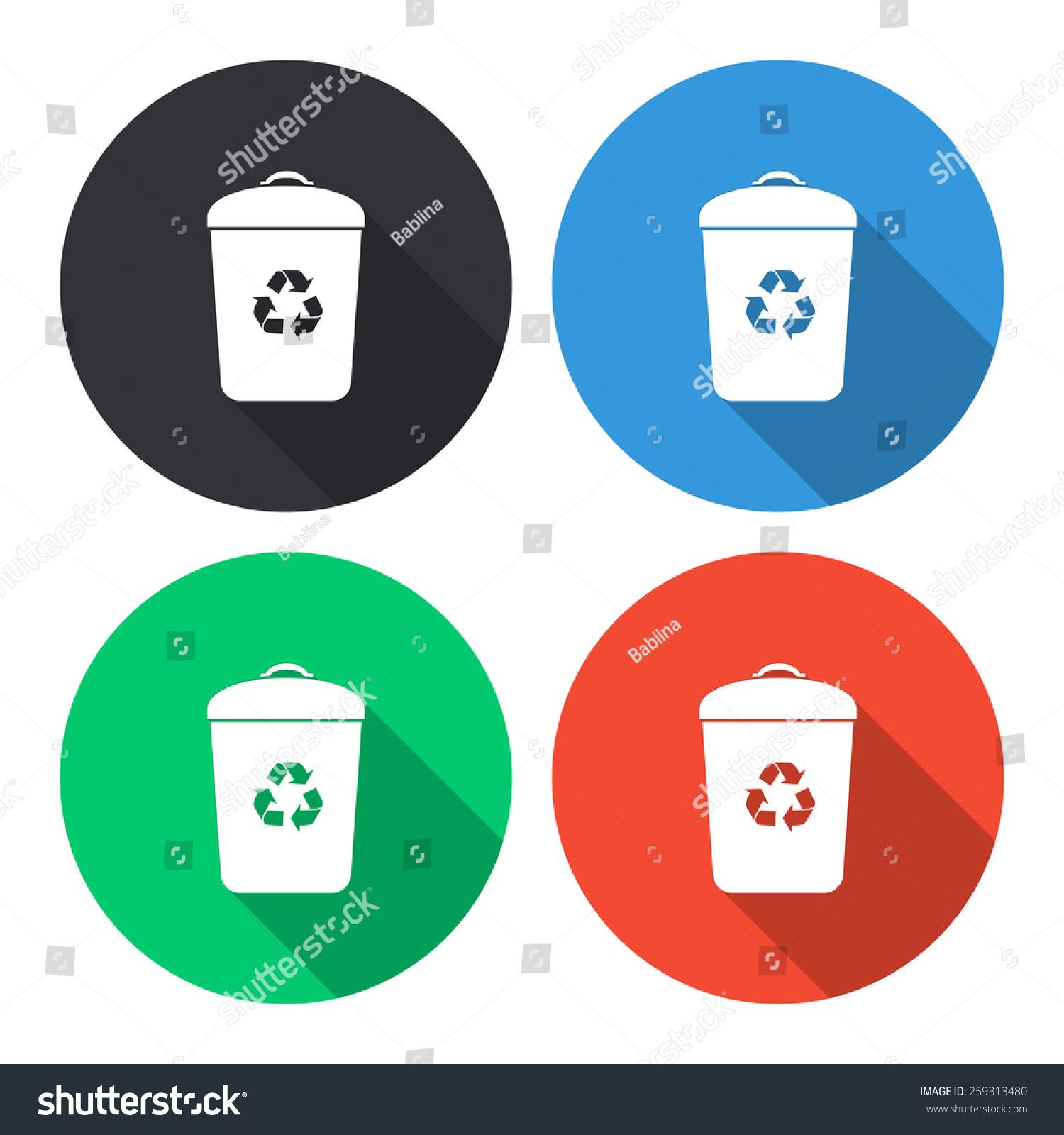 垃圾桶矢量图标-彩色