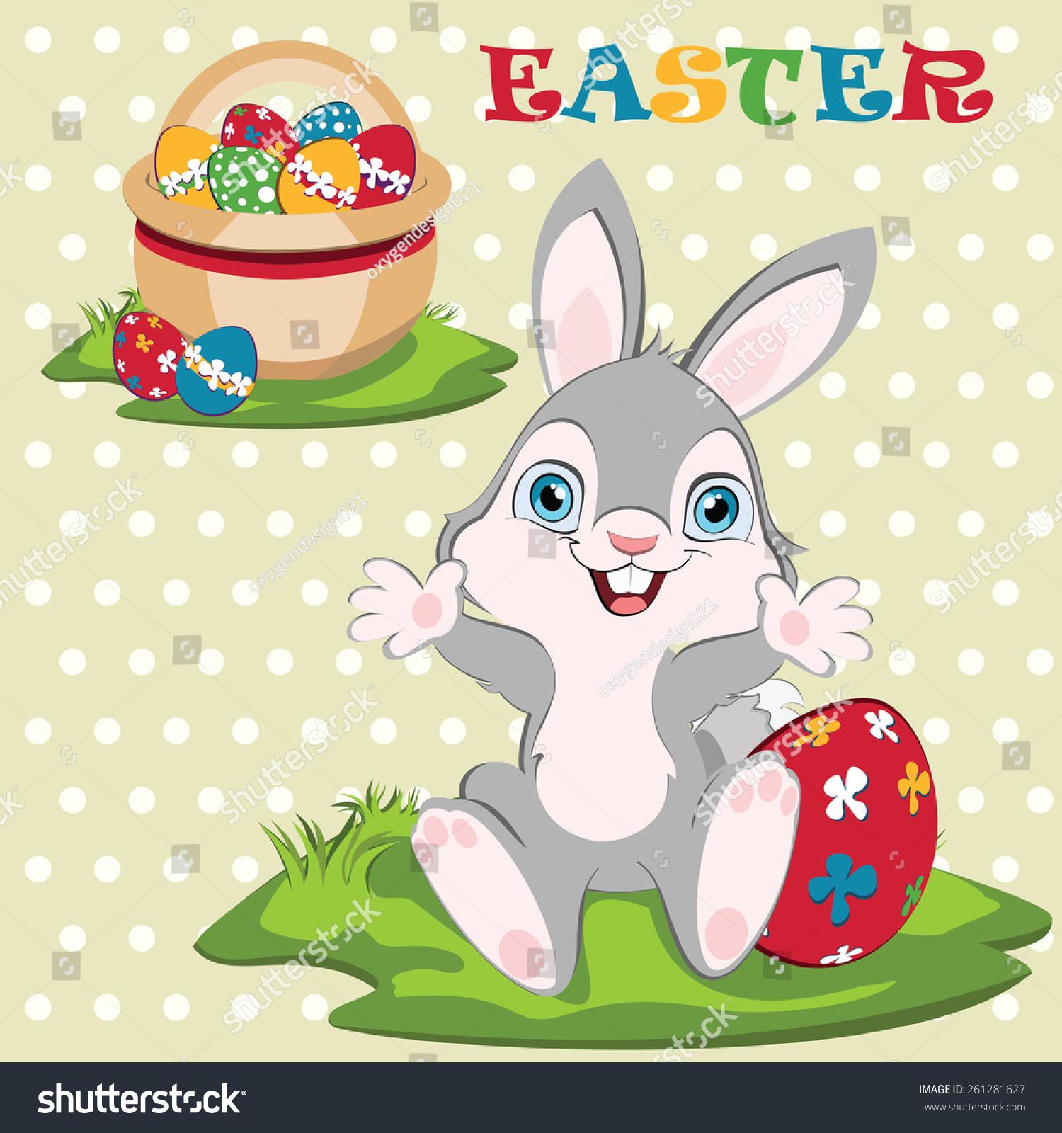 复活节兔子宽度复活节篮子和鸡蛋的背景