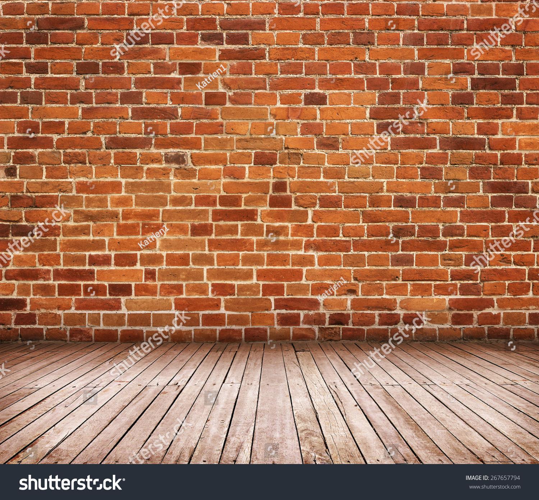 红砖墙与木地板-背景/素材