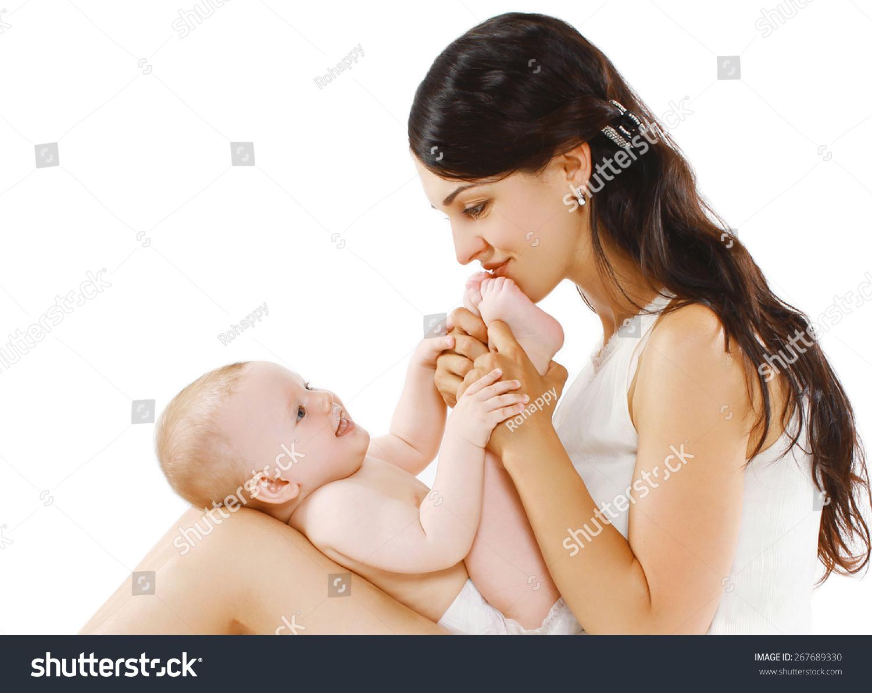 慈爱的母亲的画像玩可爱的宝宝-人物