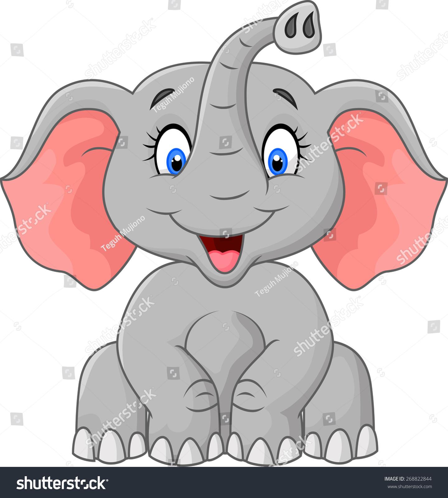 可爱的大象卡通坐-动物/野生生物-海洛创意(hellorf)