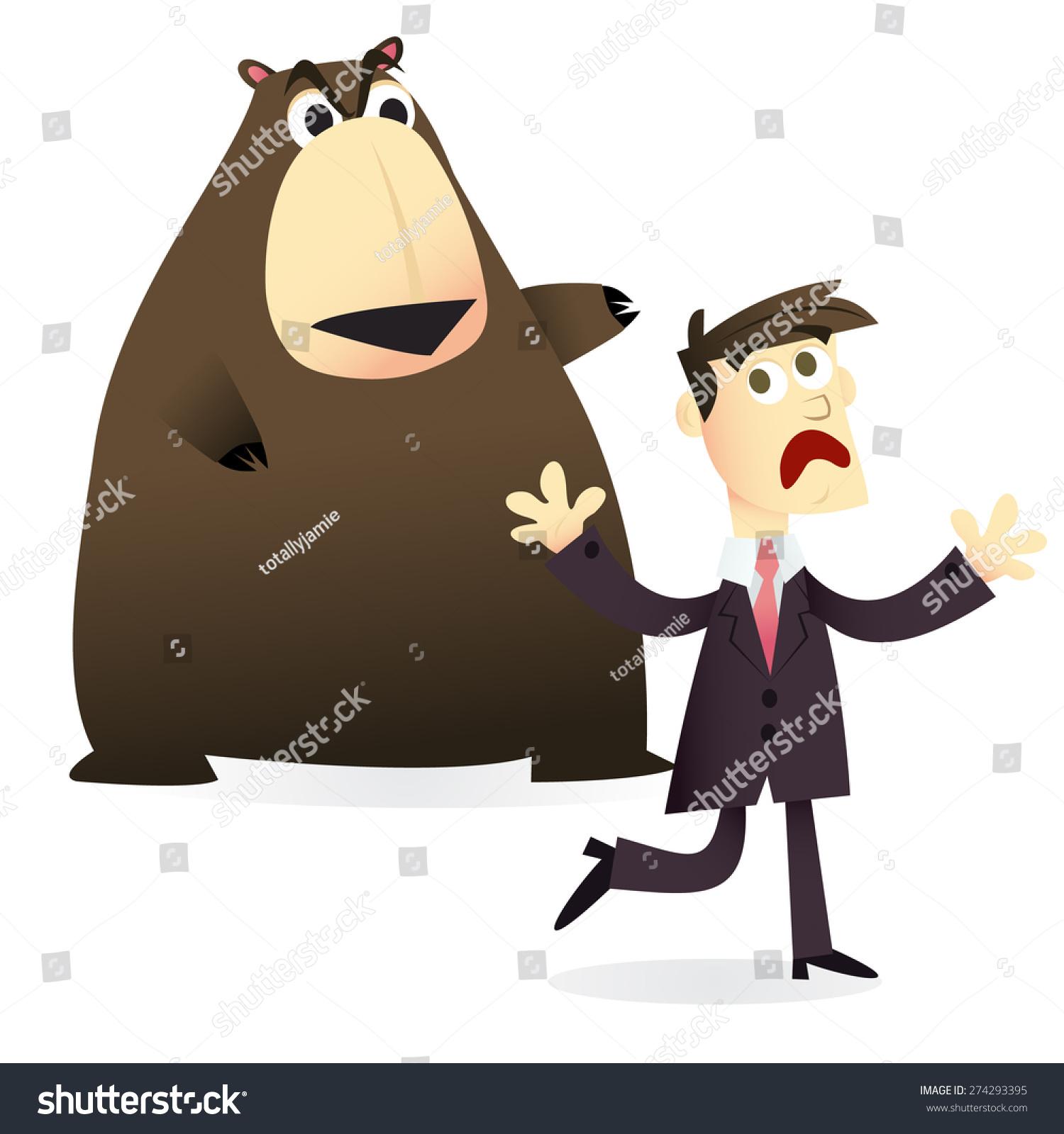 商业/金融理念的卡通矢量图:一个人害怕熊市
