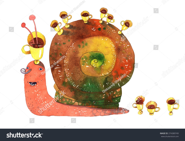 蜗牛水彩卡通手绘孤立在白色背景-动物/野生生物