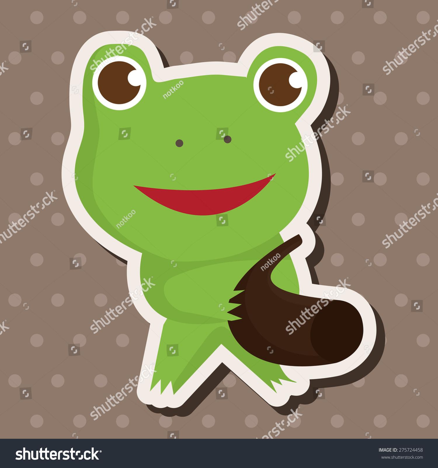 动物青蛙玩乐器的卡通
