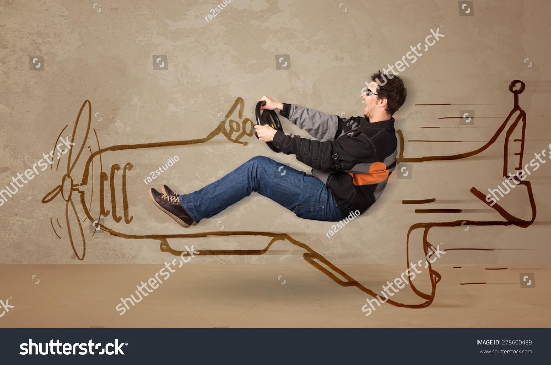 有趣的飞行员驾驶飞机手绘在墙上的概念-交通运输