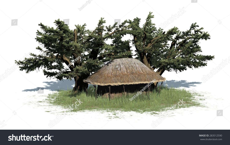 茅草小屋和树木-孤立在白色背景