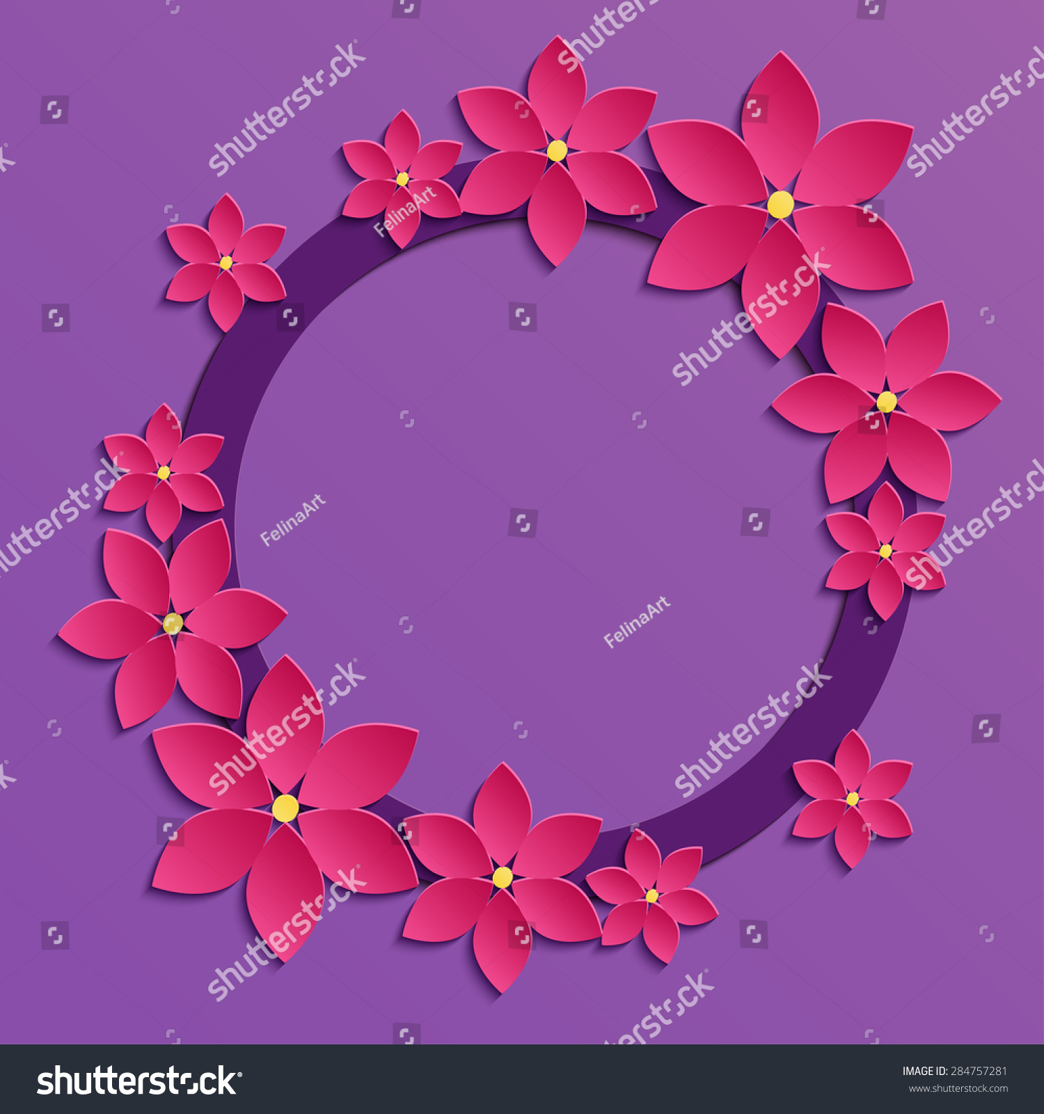 紫丁香背景的三维纸张