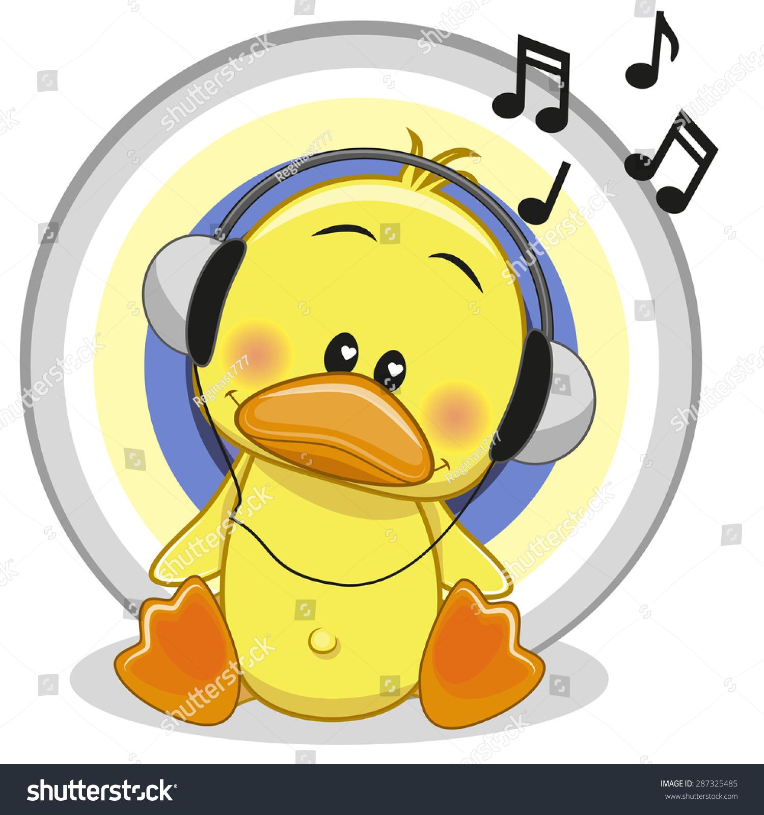 可爱的卡通鸭与耳机-动物/野生生物-海洛创意