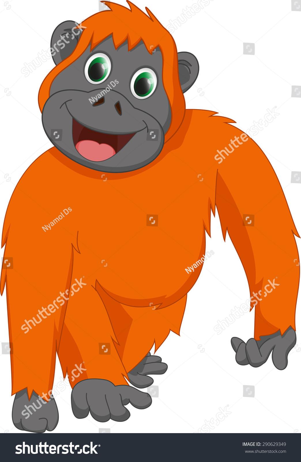 可爱的红毛猩猩卡通-动物/野生生物-海洛创意