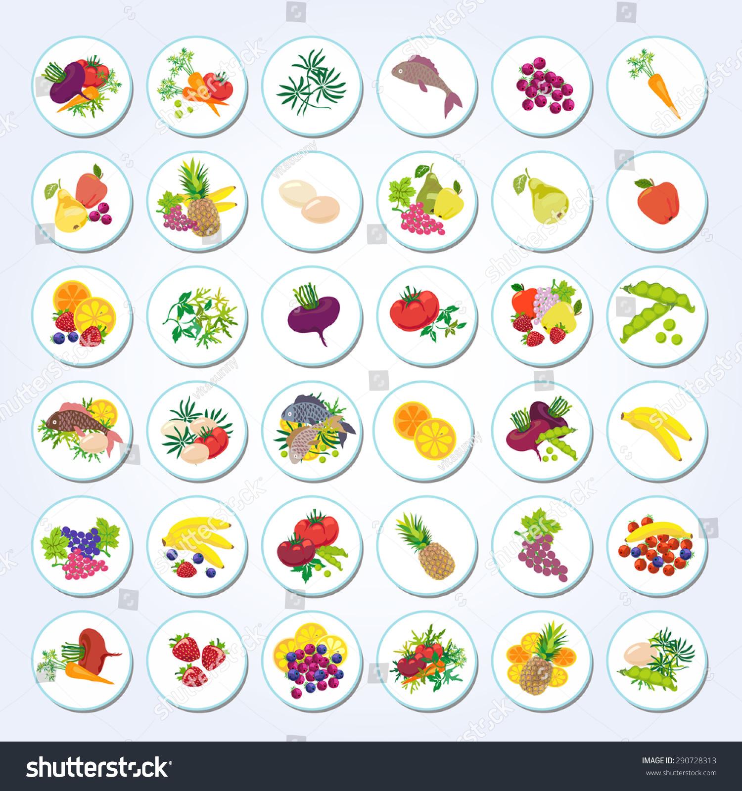 设置图标的食物:水果,蔬菜