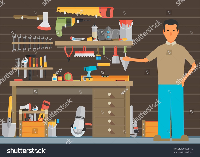 工作区木匠工具时尚平面图标