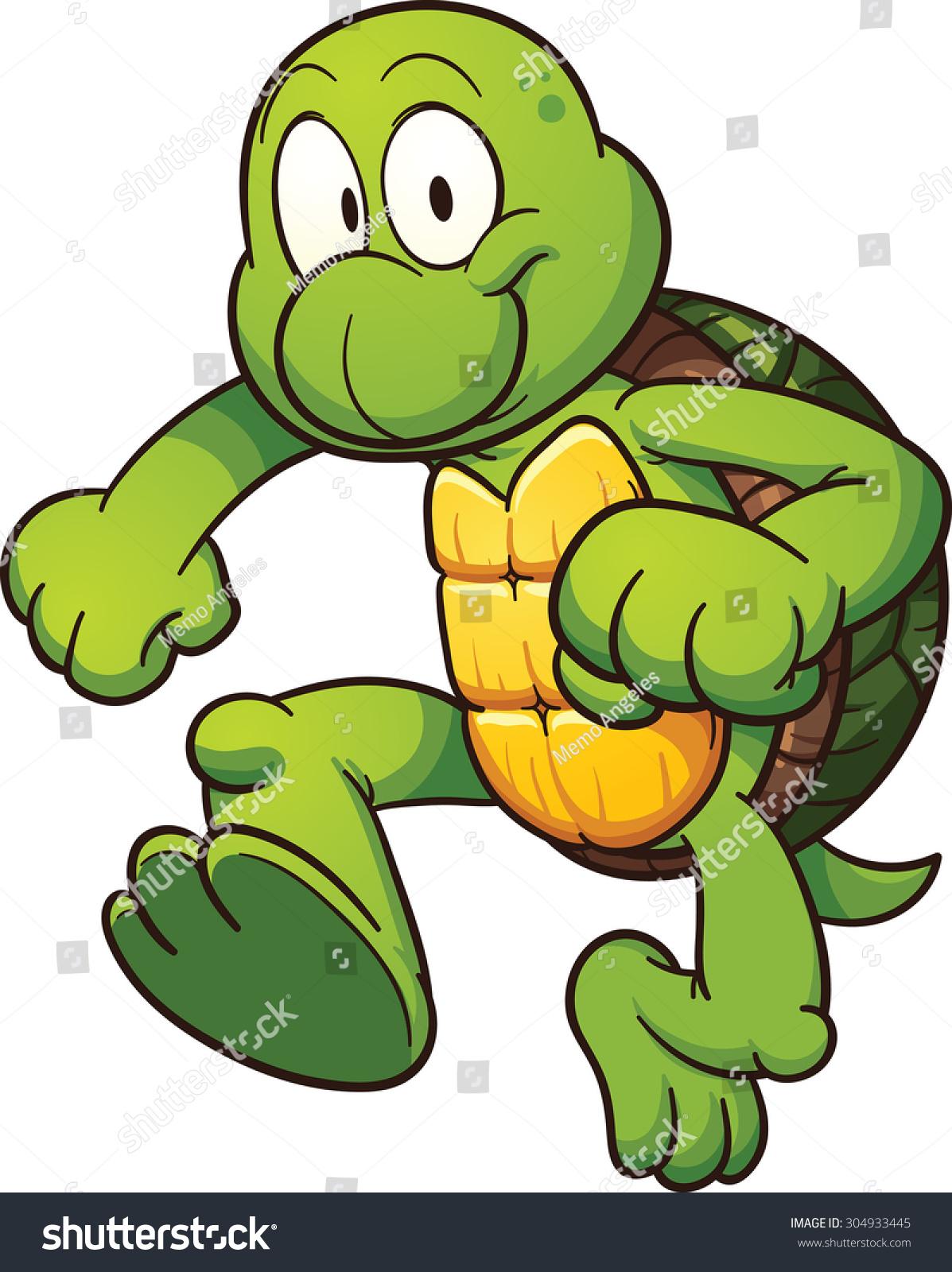 可爱的卡通龟.使用简单的梯度向量剪贴画插图