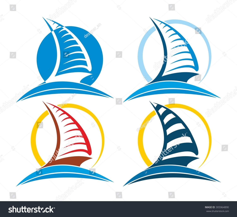 帆船矢量图logo
