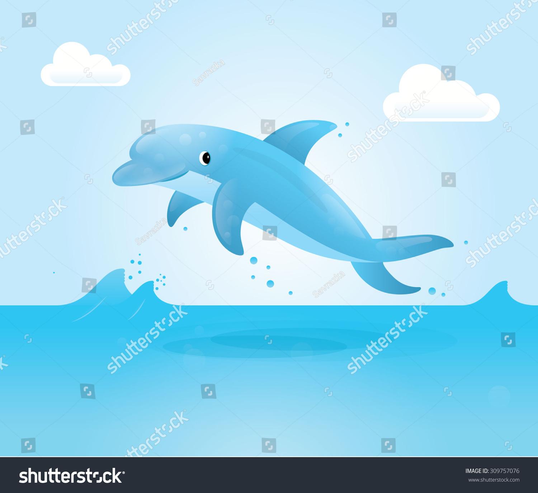 海豚.海豚矢量图标.卡通海豚