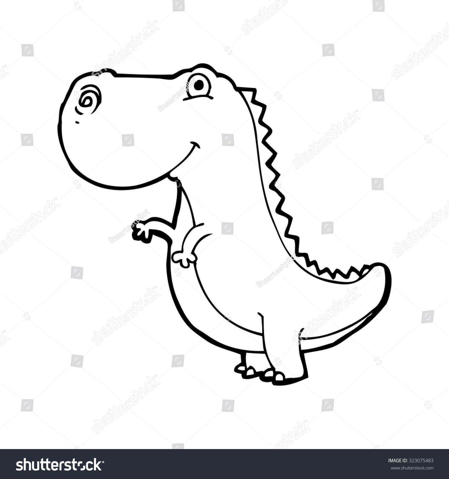 简单的黑白线条画卡通恐龙-动物/野生生物-海洛创意()