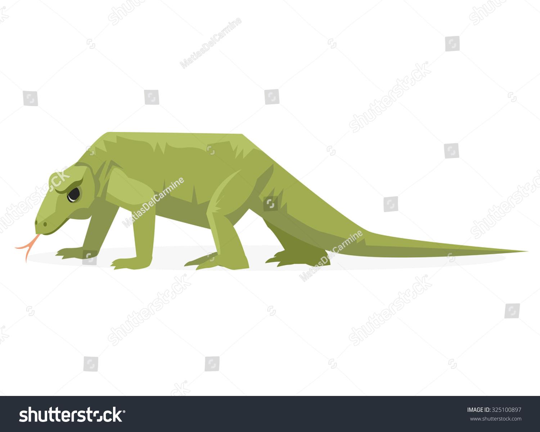 科莫多龙的爬行动物的矢量插图-动物/野生生物