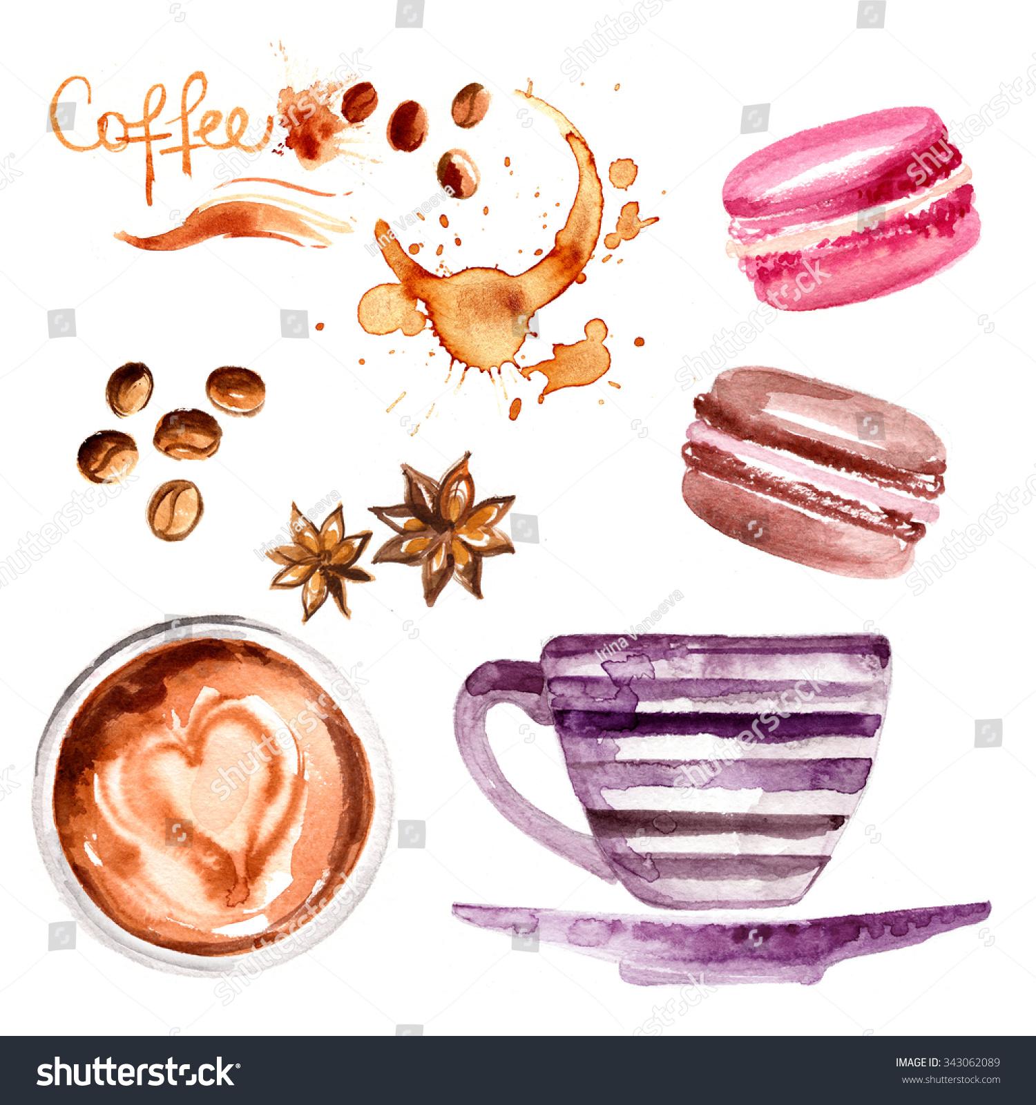 咖啡杯画水彩画在白色背景.饮料和糖果