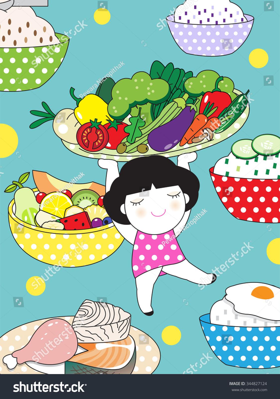 健康饮食盘子人物插图