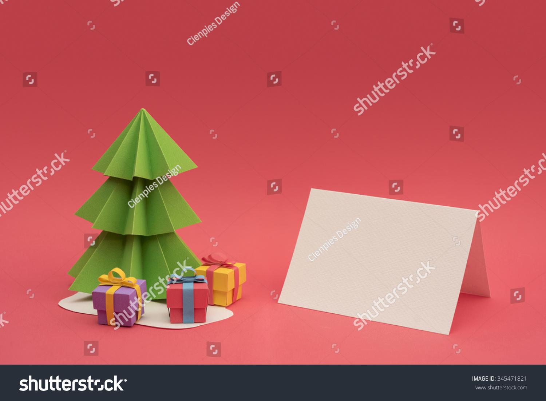 圣诞节剪纸设计:3 d手工圣诞松树