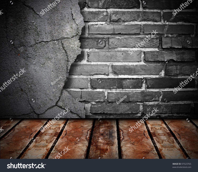 旧墙和木地板.-背景/素材